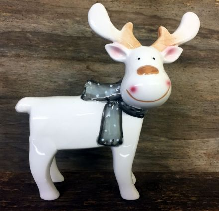 Cute White Reindeer Polished Glazed Ceramic Ornament with Grey Bow 20 cm